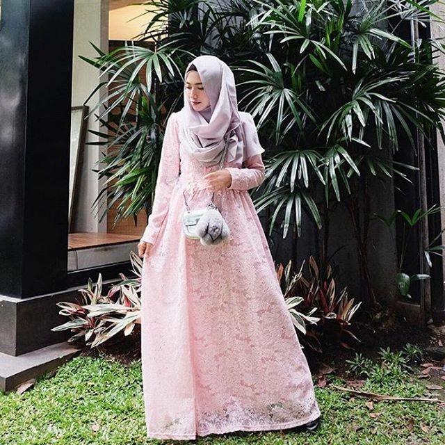 Jual Dress Gamis Kebaya Wisuda Brukat Lace Baby Pink Gashani Store