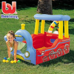 Bestway Train Play Center. Mainan Mandi Bola Anak Bentuk Balon Kereta