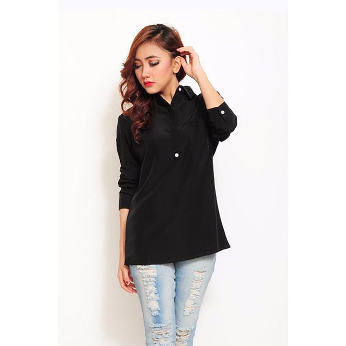 Jfashion Ecru Shirt Black Edition Long Sleeve - Hitam