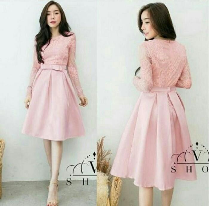 Jual Dress Pendek Brukat Mini Dress Pink Brokat Sweet Lace Girl Style Fireflies Fashion