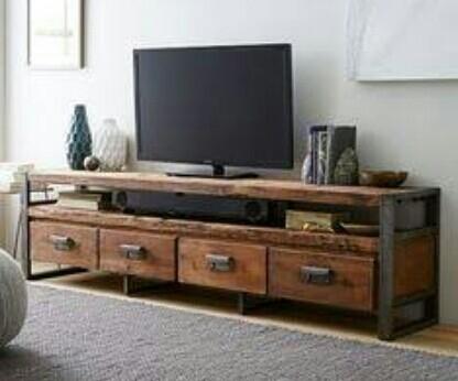 harga Meja tv minimalis bufet tv industrial kayu jati modern Tokopedia.com