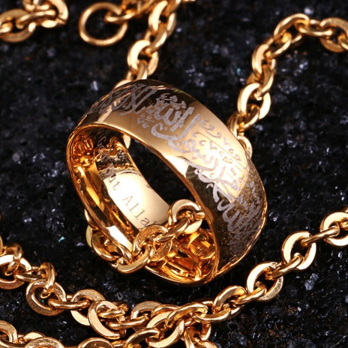 harga Cincin pria stainless gold steel wanita islamic tulisan syahadat akik Tokopedia.com