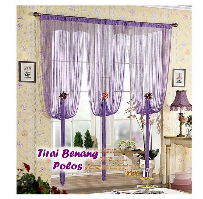 harga Tirai kelambu gorden jendela pintu dari benang motif polos aneka warna Tokopedia.com