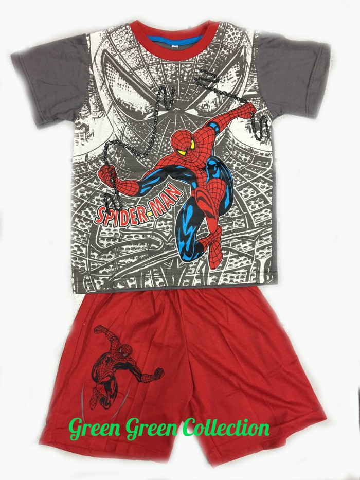 Baju tidur anak/setelan anak/piama anak/piyama kaos spiderman 141618
