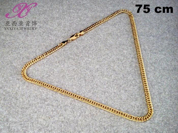 Yaxiya kalung rantai perhiasan imitasi warna gold 12k