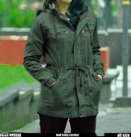 Jual Jaket Parka Wanita Premium Hijau Tua Army Kanvas Cewe Bandung ... ee8918c4b0