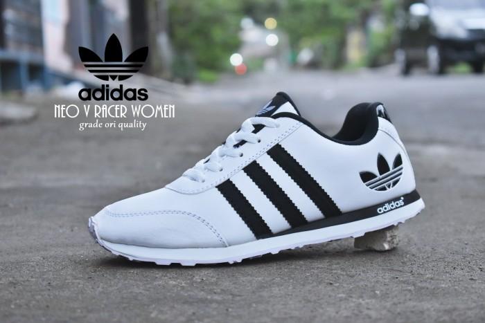 Jual Sepatu Sport Adidas Neo V Racer Putih Hitam   kets casual pria ... 7a02214309