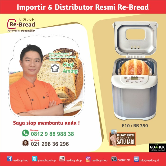 harga Breadmaker re-bread e10-rb350 / via gojek Tokopedia.com