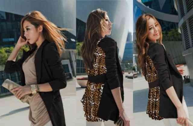harga [blazer revina lt] blazer wanita babyterry hitam combi leopard Tokopedia.com