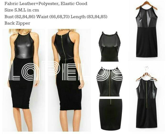 Foto Produk Mini Dress Combi Leather Sintetic Import Code IW dari LaPelosa Shop