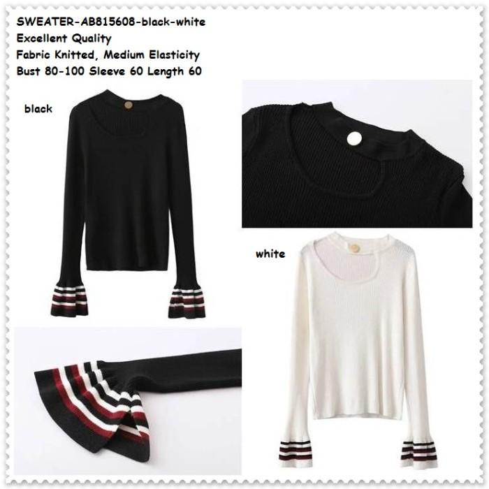 harga Sweater baju kaos rajut lengan panjang wanita korea import black white Tokopedia.com