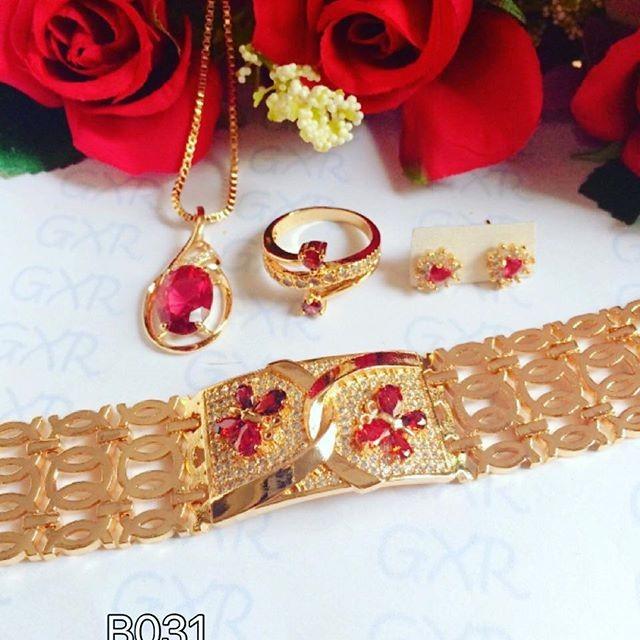 Set Perhiasan Xuping lapis emas 18k batu permata merah