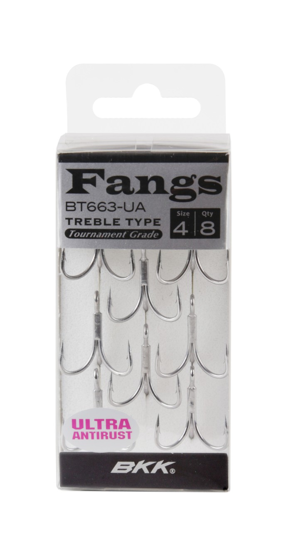 BKK FANGS TREBLE HOOKS Ultra Antirust (BT663-UA) Size.4 Qty. 8