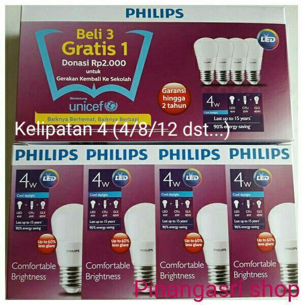 Lampu LED Philips 4 watt Bohlam 4w Putih 4 w Bulb 4watt Packing 4 pcs