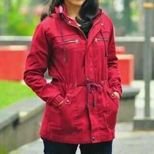Jual Jaket Parka Wanita Premium Merah Maroon Kanvas Cewek Bandung ... 17b2d43dad