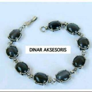 Foto Produk GELANG TANGAN WANITA TALI AIR BATU CAT EYE OVAL 10X12 ML BLACK dari Dinar Aksesoris