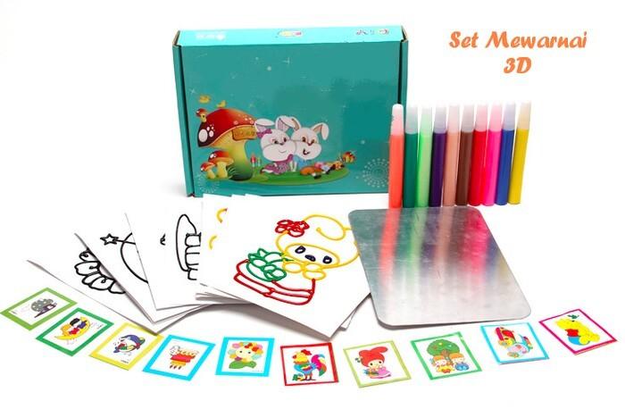 Jual Paket Mewarna 3d Tinta 10 Gambar Coloring Set 3d Ink