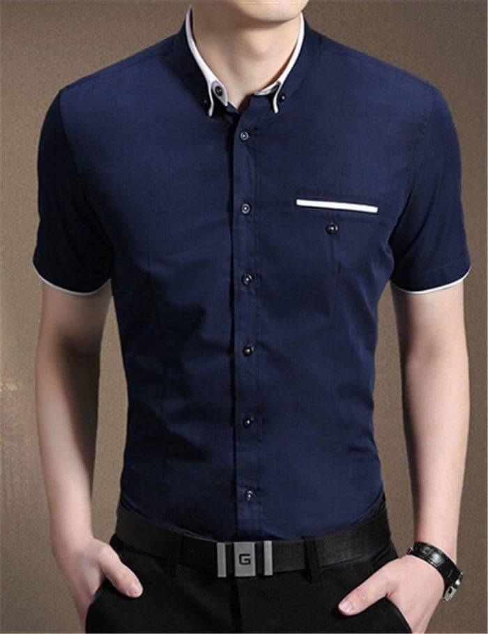 Kemeja Pria Lengan Pendek Winston Dark Blue Baju Formal Slimfit