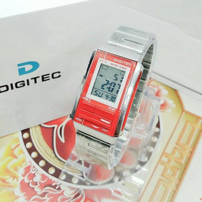 JAM TANGAN WANITA DIGITEC DG-3022T ORIGINAL RT SILVER LIST RED