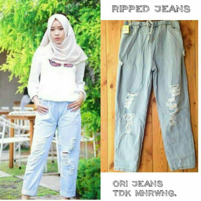 ripped jeans light blue pants -celana murah - jogger - bawahan wanita