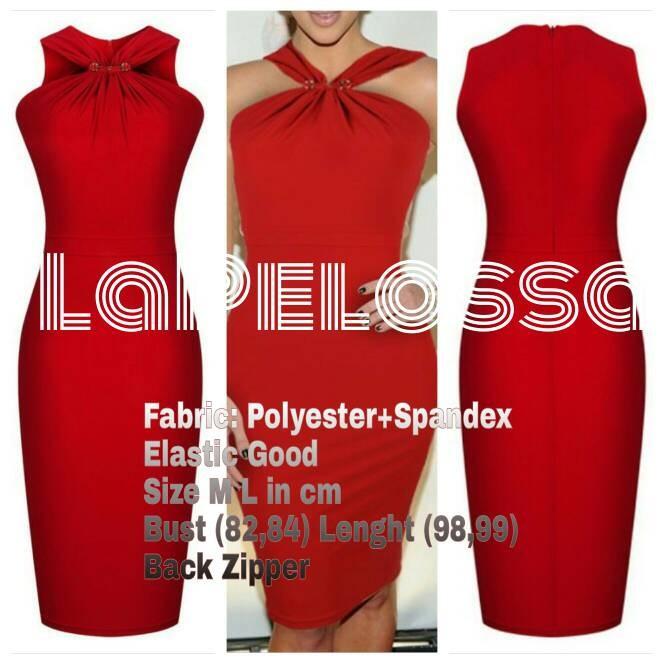 Foto Produk Red Midi Dress Import Code IW dari LaPelosa Shop