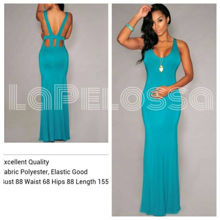 Foto Produk Green Long Dress Import Code IW dari LaPelosa Shop