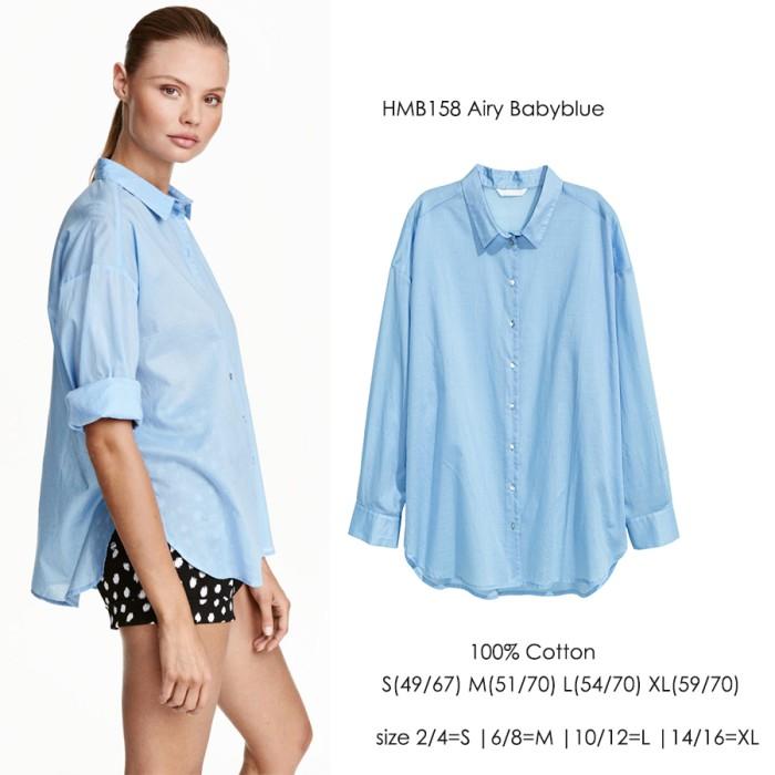 Kemeja Wanita Branded Biru Muda Polos Hem Kerja Kantor Blue Cewek L XL faf99b5fe7