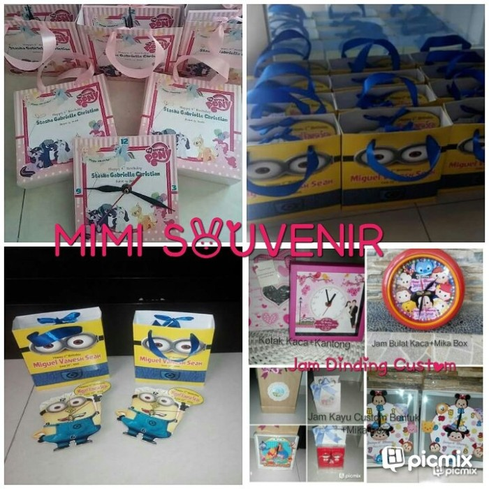 Foto Produk 1 Lusin Jam Dinding Bulat Lapis Kaca D.40+FREE MIKA BOX dari mimisouvenir