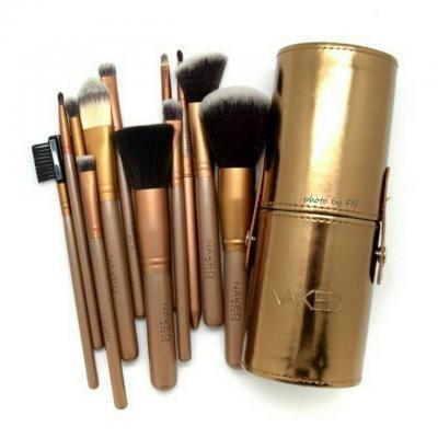 NAKED TABUNG - Kuas Naked Gold Brush Set isi 12 Wadah Silinder Kancing