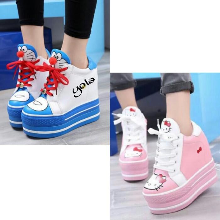 Jual Sepatu murah sneakers wedges motif doraemon kartun lucu - B ... e542f52a68