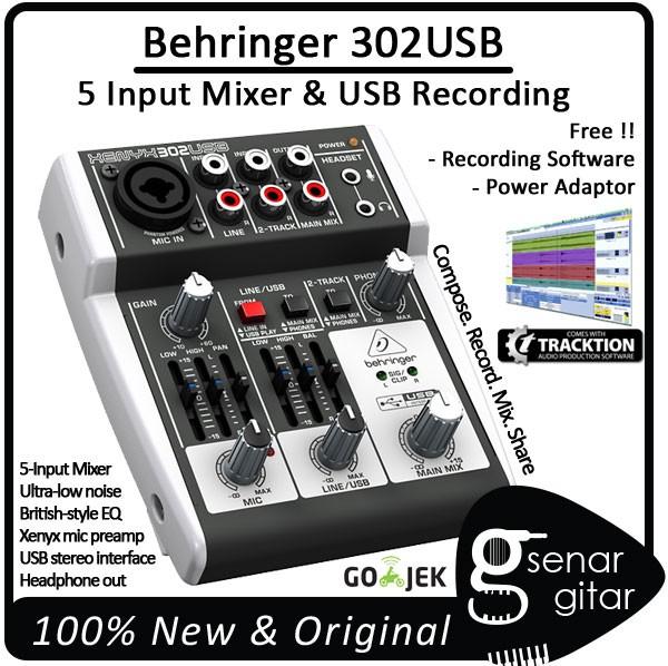 harga Behringer xenyx 302 usb 5 input usb mixer (audio recording 302usb) Tokopedia.com