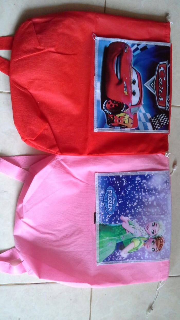 Jual Ransel Vinil Karakter Tas Souvenir Ultah Anak Unik Goodie Bag Frozen Spunbond