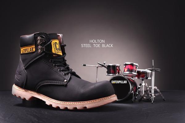 Sepatu Boot Safety Ujung Besi Caterpillar Holton Black