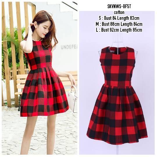 SKVNWS Dress Merah Dress Motif Kotak Kotak Dress Tutu Dress Pesta