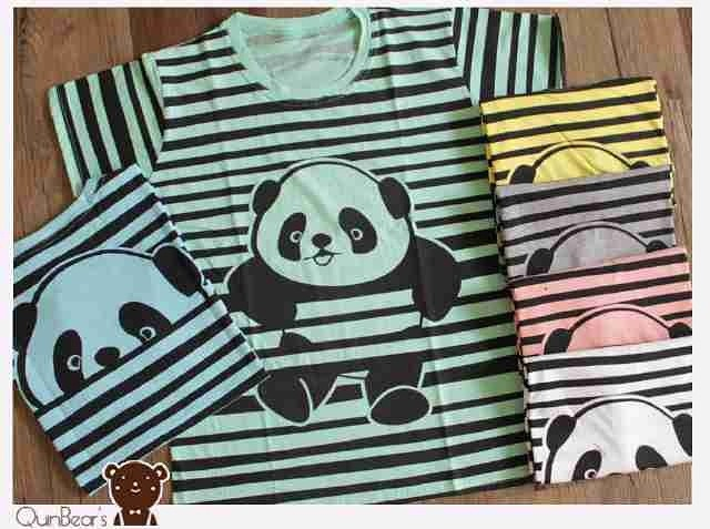 Jual kaos wanita kaos big size kaos quinbears kaos panda strip 3778 ... 34263d8689