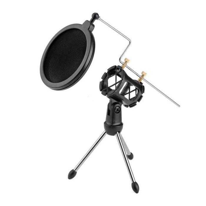 harga Mini tripod stand mikrofon universal dengan pop filter microphone Tokopedia.com