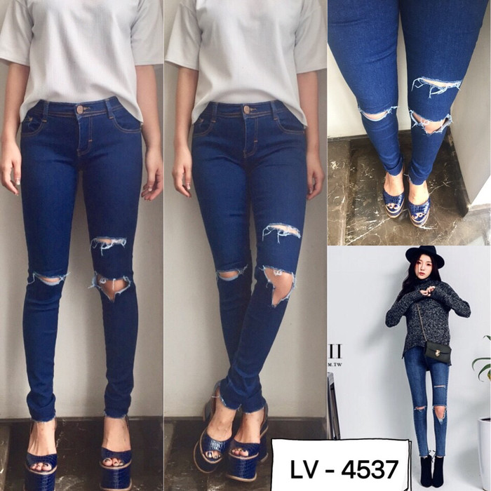 harga Punny cut out ripped jeans lv 4537 Tokopedia.com