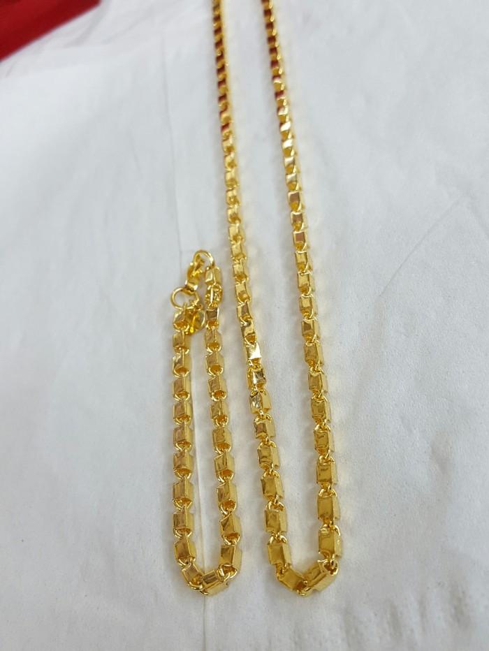 harga Set gelang & kalung balok jumbo lapis emas 24k Tokopedia.com