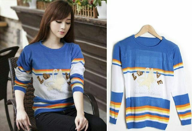 sweater blue salur colorful love mote