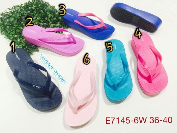 harga Sandal sendal jepit wedges wanita cewe karet lucu bara luofu Tokopedia.com