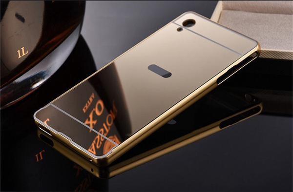 Metal Slide Mirror Bumper Hard Case Cover Casing Sony Xperia M4 Aqua