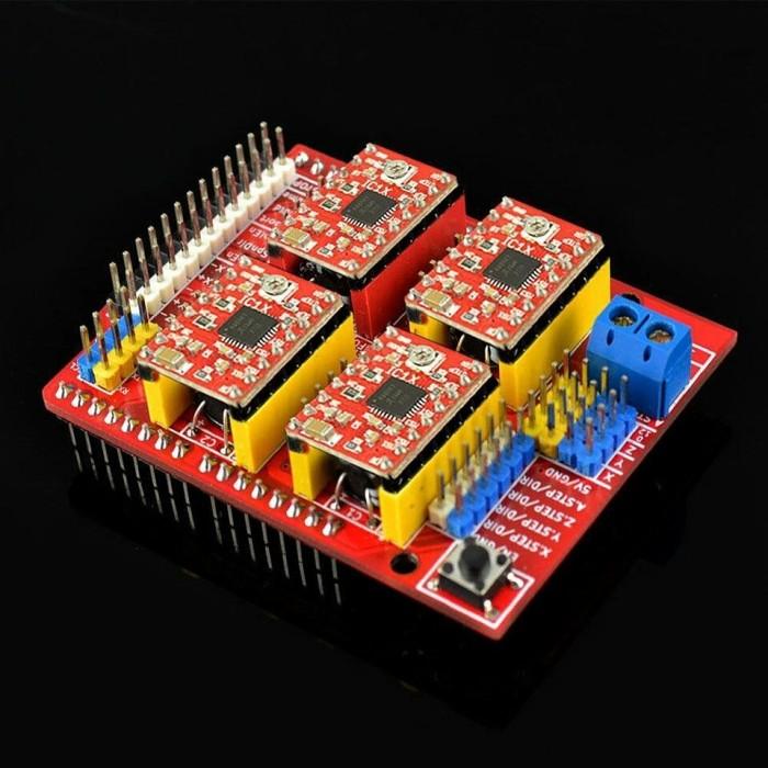 harga New arduino cnc shield v3 engraving 3d printer + 4x a4988 stepper drvr Tokopedia.com