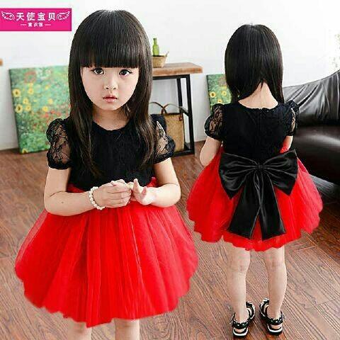 Dress merah brukat furing bawah kids / pakaian anak perempuan .