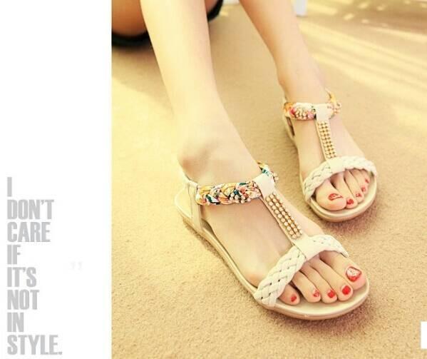 Sendal flat kepang cream | Sepatu Wanita | Sandal Flat |Flat Kepang