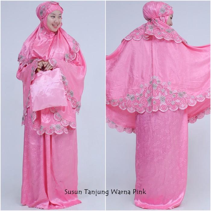 Mukena Semi Sutra Susun Tanjung Pink