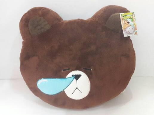 Bantal boneka kepala bear brown line pilek