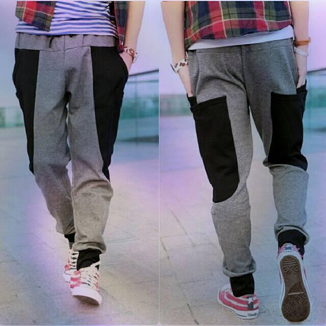 Celana Jogger Abu-Abu/Celana Pria Korea Jepang Keren Murah