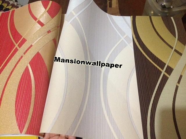 Wallpaper dinding garis warna modern