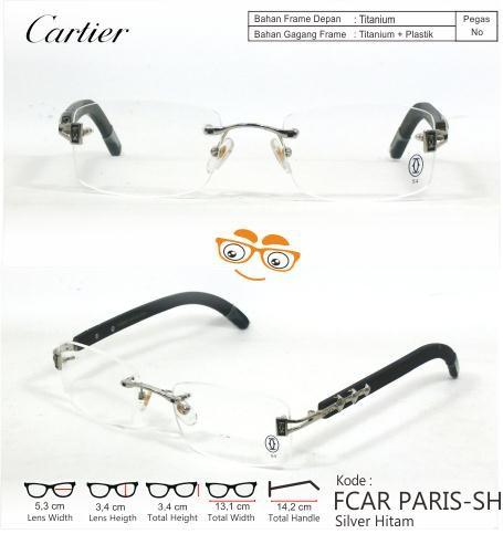 Jual Frameless Rimless Kacamata Cartier Paris Silver Hitam - Jual ... 5b6cd3f9fa