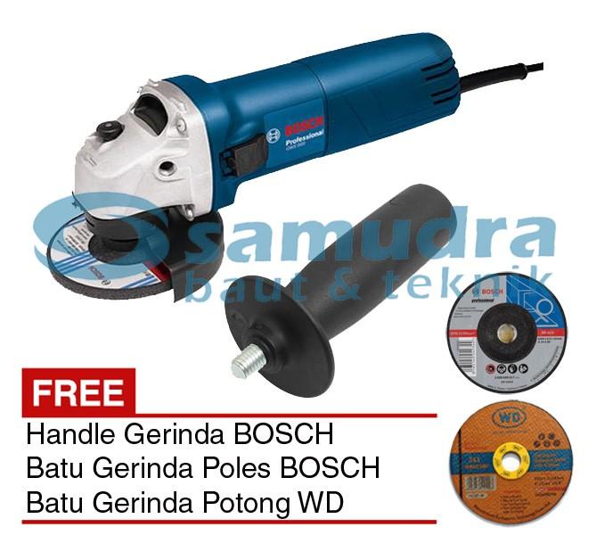 """BOSCH GWS 060 + Handle Mesin Gerinda 4"""" + Batu Gerinda Potong Poles"""